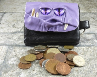 Zippered Coin Purse Lavender Black Leather Change Purse Monster Face Pouch Key Ring Harry Potter Labyrinth