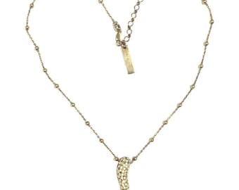 Vintage Dolce and Gabbana golden ball chain necklace with fire frame pendant top with crystals. Rare 925 necklace