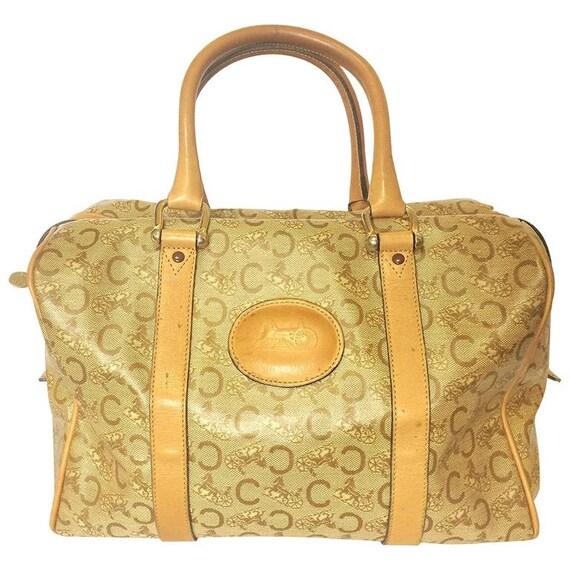Vintage Celine classic beige and brown macadam and blason pattern handbag, speedy design duffle bag with embossed logo. Unisex.