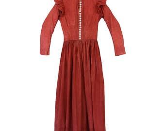 Antique Calico Dress //Turkey Red // Prairie // 1800s