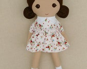 Fabric Doll Rag Doll Brown Haired Girl in Sweet Old Fashioned Calico Dress