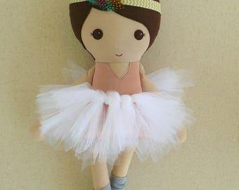 Fabric Doll Rag Doll Brown Haired Girl in Salmon Pink Satin Leotard, Tutu, Leg Warmers, and Feather Headband