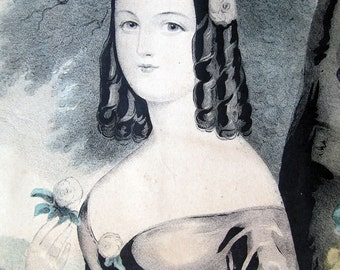 Sarah: Lovely Antique Hand Colored Lithograph, Nathanial Currier, Wonderful Image, c.1840s, Not for the Advanced Collector