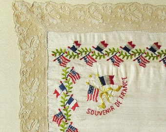 Souvenir de France, World War I, Antique Embroidered Silk Handkerchief, c.1919, Hand Sewn to Silk-Covered Acid-Free Board, Ready to Frame