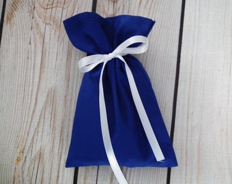 ROYAL BLUE fabric favor bags, small blue cloth bags, wedding favors, party favors, custom favor bags, small product packaging, made to order