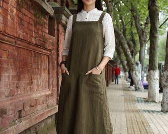 Linen Pinafore Dress, Linen Apron Dress, Maxi Linen Dress, Linen Halter Dress, Green Linen Dress, Linen Wrap Dress, Layered Dress