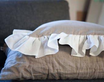 Linen pillowcase with ruffles, farmhouse pillow cover, decorative pillow, cushion case, natural linen pillows