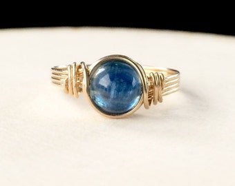 Blue Kyanite Ring, Gold wire wrapped kyanite ring, Kyanite wire wrapped ring, Gemstone ring