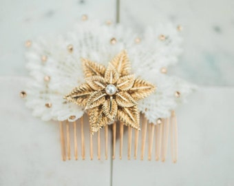 Persephone Gold brooch and Diamante Deco Lace Comb