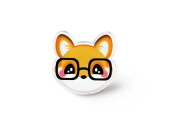 Nerdy Kawaii Fox Pin - Geek Jewelry, Geek Gift, Kawaii Jewelry, Kawaii Accessories, Nerd Animal Lover Gift