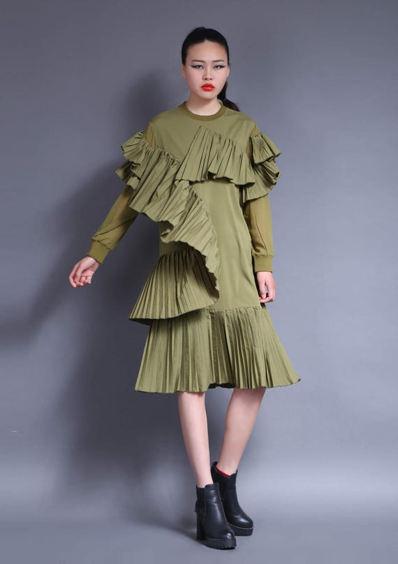 army green spring long sleeve dress cotton dress
