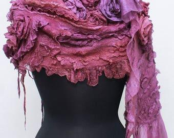 Dusty Nuno felted   Long  Shawl Textured Silk Wool Multicolor Felt Scarf Romantic Silk Wearable Art Eco Boho Fiber Art OOAK