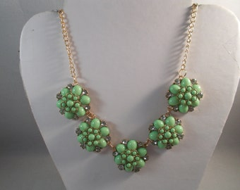 Gold Tone Chain Necklace with Green Beads and Clear Rhinestone Glower Pendants