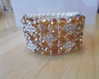 4 Row White Pearl Stretch Cuff Bracelet with Amber Crystal and Clear Rhinestone Beads and Silver Daisy Bead Spacers