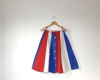 vintage denim a line skirt denim flare skirt mid century country western americana skirt patriotic red, white and blue skirt american usa S