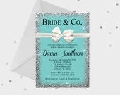 Bride & Co. bridal Shower Invitation, Breakfast at Tiffanys, Tiffany and Co with bow Theme Invitation, 5x7