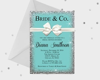 Bride & Co. bridal Shower Invitation, Breakfast at Tiffanys, Tiffany and Co with bow Theme Invitation, 5x7