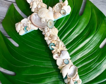 Seashell Cross/Beach House Decor/Reclaimed Wood Cross/Wedding Cross/Tiffany Blue Wall Cross