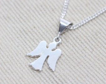 Sterling Silver Angel Necklace, Flat Guardian Angel charm, guardian angel jewelry, Girl necklace, girls jewelry.