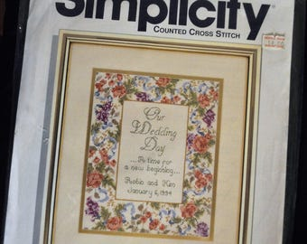 CLEARANCE - Wedding Cross Stitch - Size 8 by 10 inches -Delicate Flowers form border for the Wedding Day - UNOPENED