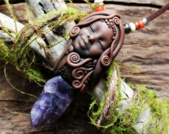 Amethyst Goddess Necklace ...Handcrafted Earth Medicine and Goddess Jewelry for the Wild Spirited.