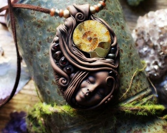 Goddess Necklace with Ammonite Fossil and Raw Garnet. Handcrafted Clay by TRaewyn Jewelry.