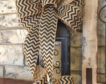 Black Chevron ~Burlap Wired Edge Ribbon Bow for Wreath, Swag, Lantern~Timeless Floral Creations~Free Shipping