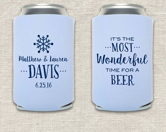 Most Wonderful Time - Winter Wedding Can Cooler