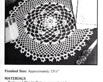 "Vintage Crochet Pattern ""Donegal"" - from Leisure Arts 'Elegant Crocheted Doilies' Leaflet No 972"