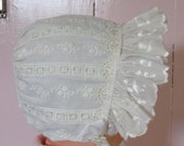 White embroidered eyelet, ruffled baby bonnet, size 3-6 months, 3 mo size, baby hat, Easter bonnet, summer hat, for a Christening or Baptism
