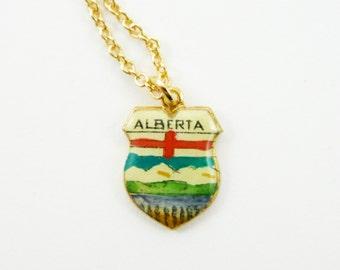 Alberta Charm Necklace - Vintage Alberta Necklace - Canada 150