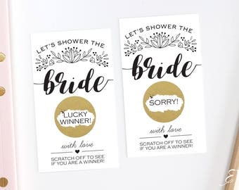 10 Black and White Bridal Shower Scratch Off Cards  - Bridal Shower Game - Bachelorette Party Game