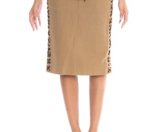Tom Ford For Yves Saint Laurent Safari Pencil Skirt Size: M/L