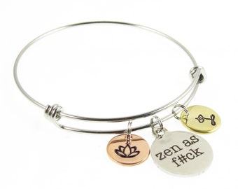 Yoga - Zen - Hand Stamped Jewelry - Namaste Yoga Bracelet - OM Lotus Flower - Tree of Life - OHM Meditation Jewelry - Expressions Bracelets