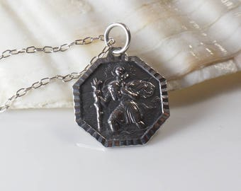 1970s St. Christopher Small Octagonal Shape Pendant Raised Details on 925 Silver Chain Necklace