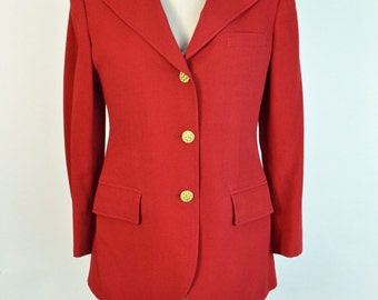 Vintage 1960s 60s Riding Jacket Red Women's Equestrian Coat Giorgio Beverly Hills
