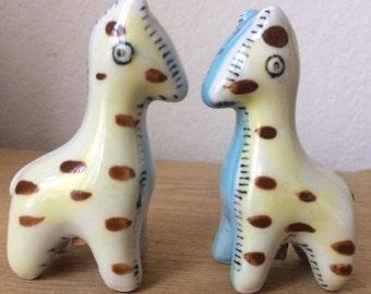 Vintage Napcoware Giraffe Patchwork Salt & Pepper Shakers, Toy-Type Animal Shakers, Baby Shower Decor