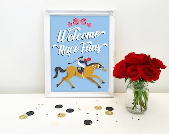 KENTUCKY DERBY sign, welcome race fans, horse, Derby party, derby party decoration, decor, instant digital download, diy, printable file