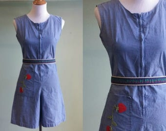 1960s Zip Front Cotton Denim Romper - 60s Playsuit - Berry Embroidery - Small