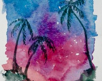 Tropical Sunset 1, original watercolor painting