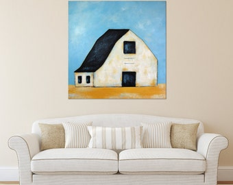 Barn Painting, Farm Painting, Landscape painting, Old Barn, White Barn, Minimalist Barn, Farmhouse Art, Barn Art ** FREE SHIPPING **