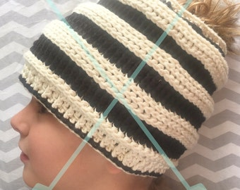 Messy Mom Bun Beanie Hat, Striped , Beehive Style, Black and Cream, crochet knit hat with ponytail hole