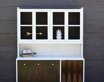 White and Ebony Mid Century Modern Hutch