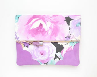 BLOOM 9 / Flower clutch purse-leather bag-fold over purse-scalloped leather-handbag-floral print-tassel pull bag-pink purple-Ready to Ship