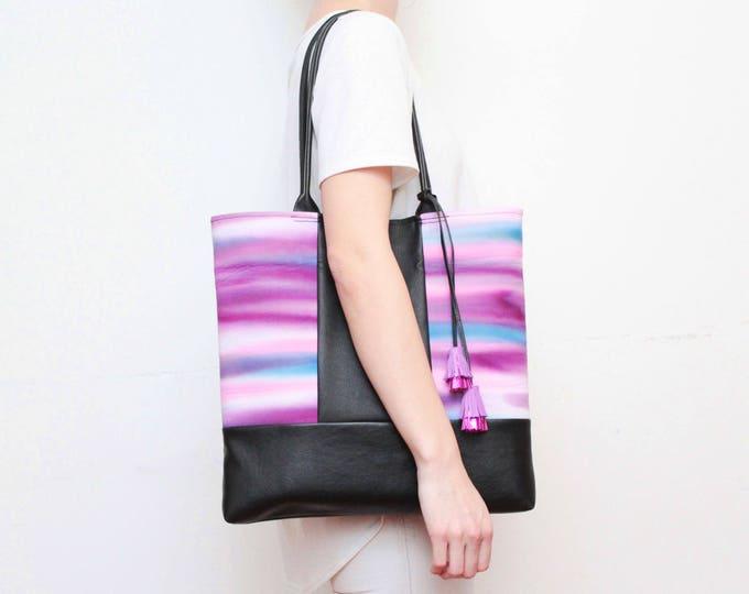 Dyed large tote-leather shoulder bag-denim shopping bag-hand colored tie dyed shoulder purse-black leather bag-black purple blue /BASIC 8