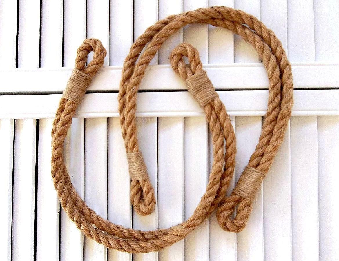 Two Double Rope Curtain Tie Backs Rustic Jute Tiebacks Drapery