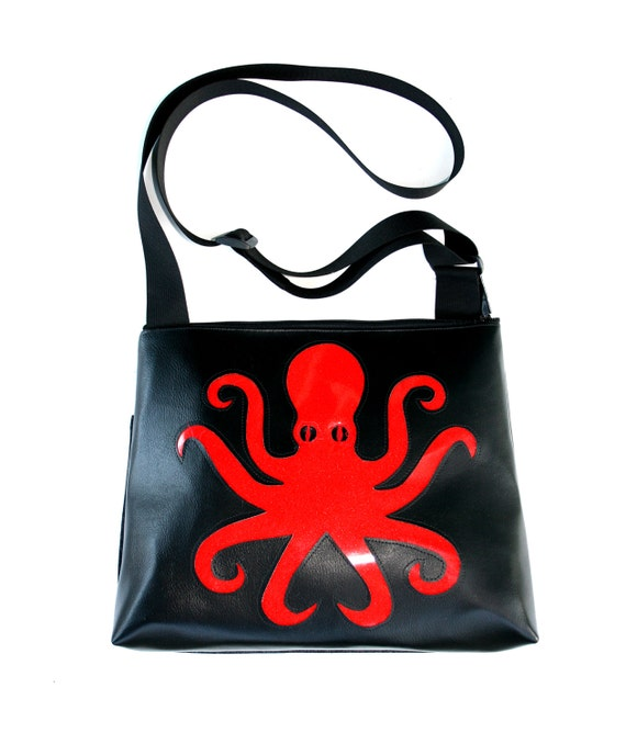 Octopus, red, black vinyl, glitter vinyl, vegan, vegan leather, large, cross body bag
