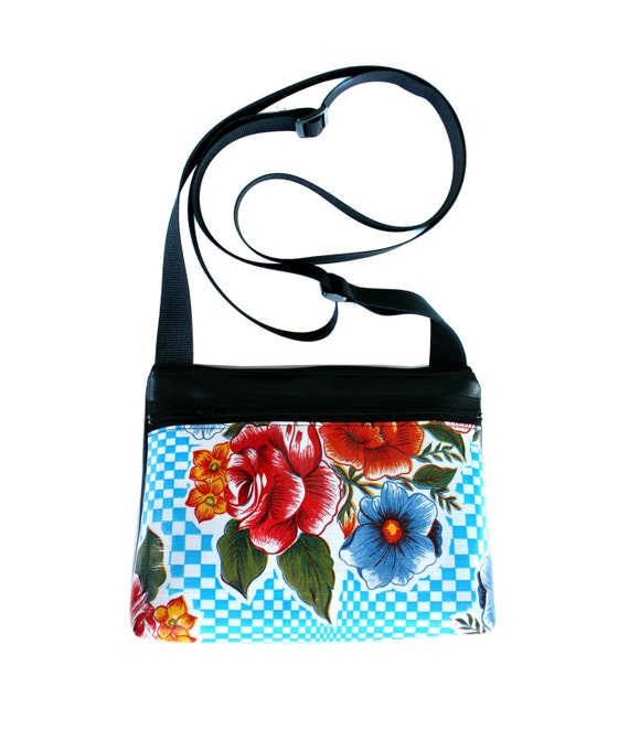 Blue, checkered, oil cloth, floral, boxy cross body, vegan leather, zipper top
