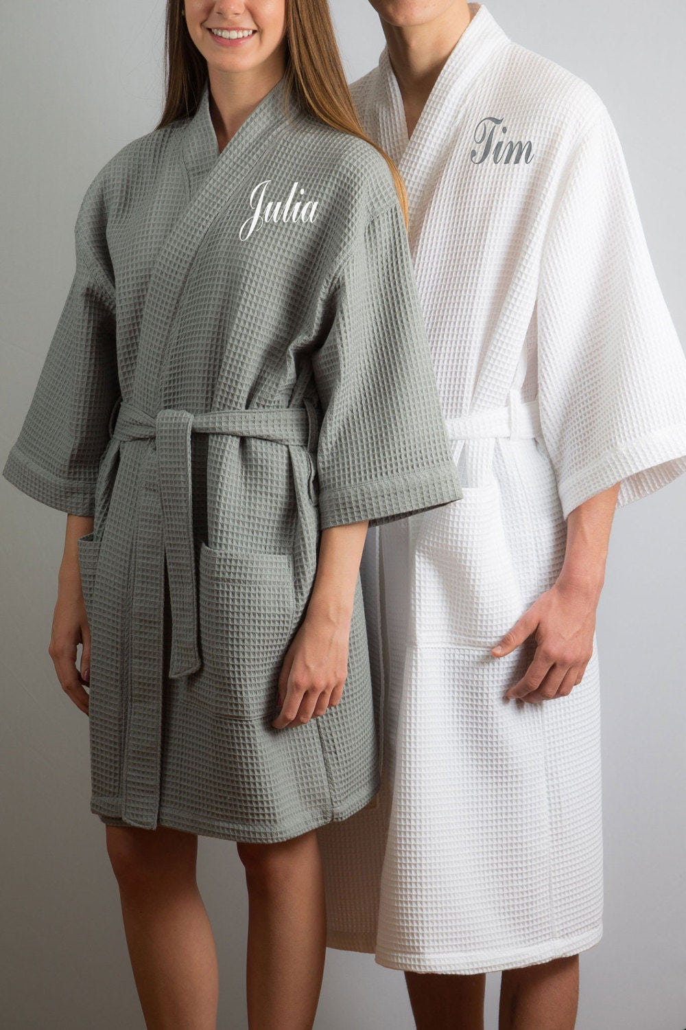 his and hers robes bride and groom gift of 2 matching waffle. Black Bedroom Furniture Sets. Home Design Ideas