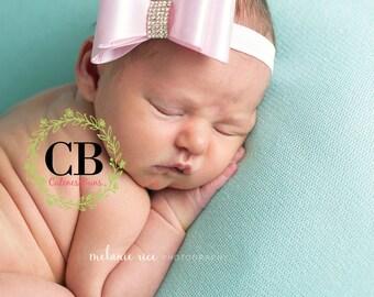 Baby Headbands, Newborn Headband, Baby Bows, Headband, Girl Headband, White Headband, Hairbow, Pink Headband, Head band, 1st birthday bow